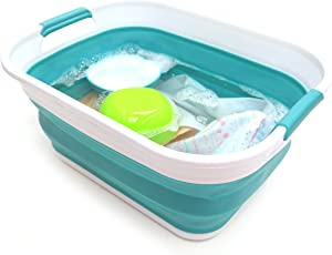 SAMMART 17.5L (4.6 Gallon) Small Collapsible/Foldable/Pop Up/Portable Washing Tub, Water Capacity 13.5L/3.5 Gallon (1, Bright Blue)