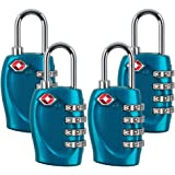 4 Dial Digit TSA Approved Travel Luggage Locks Combination for Suitcases (Blue-4pack)