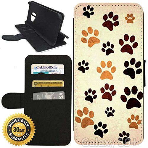 Paw Prints Wallet (Flip Wallet Case for Galaxy S9 Plus (Paw Print Design) with Adjustable Stand and 3 Card Holders   Shock Protection   Lightweight   Includes Stylus Pen by Innosub)