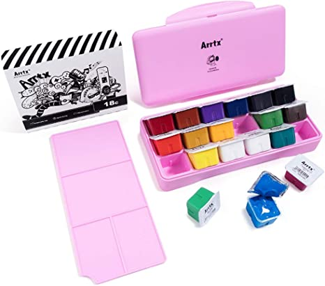 Amazon Com Miya Gouache Paint Set 18 Colors X 30ml Unique Jelly Cup Design Portable Case With Palette For Artists Students Gouache Watercolor Painting Pink