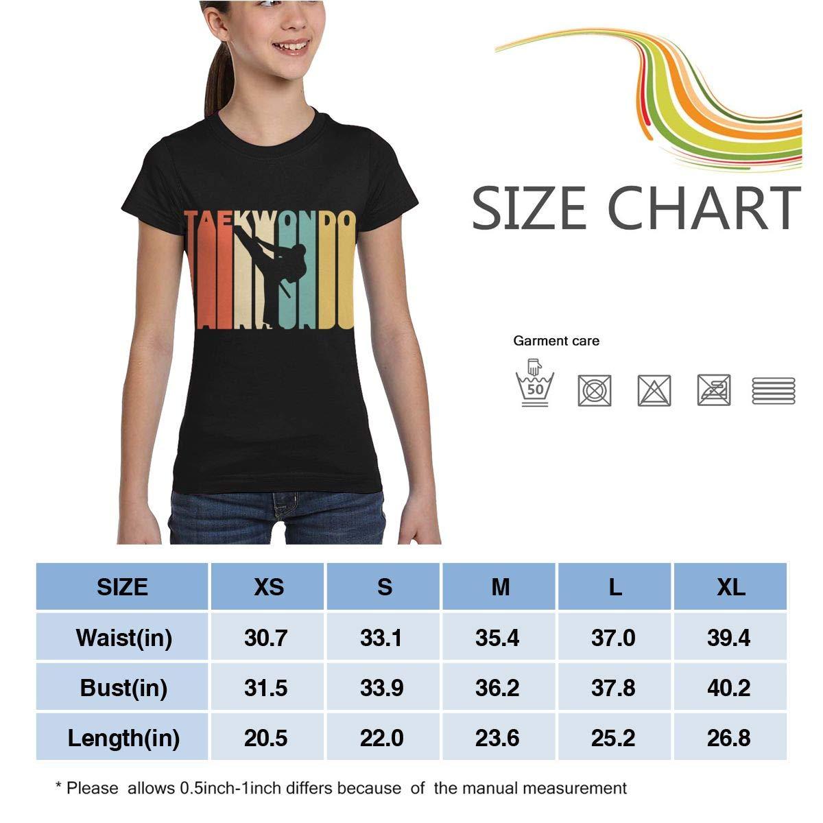 Casual Blouse Clothes XS-XL Girls Short Sleeve Retro Style Taekwondo Silhouette T-Shirts