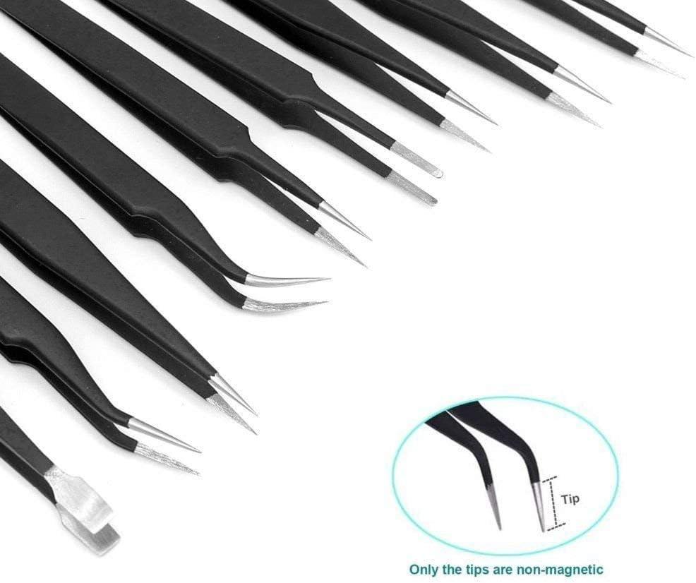 joyas removedor de puntos negros Juego de pinzas de precisi/ón ESD antiest/áticas de acero inoxidable para manualidades electr/ónica trabajos de laboratorio