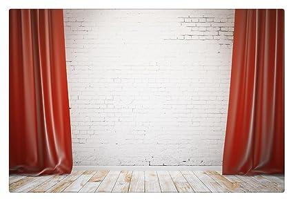Rojo cortina de telón de fondo de fotos de boda blanco ...