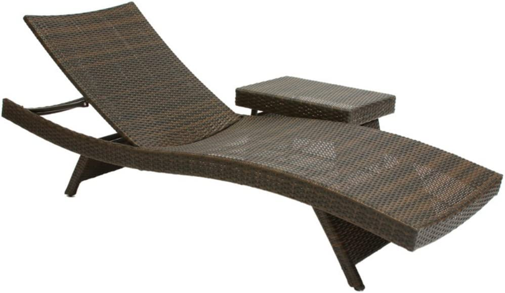Best Selling Outdoor Adjustable Lounge with Wicker Table
