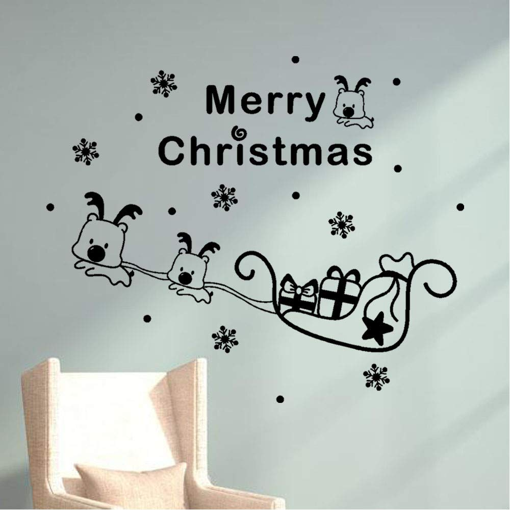 Modaworld_Christmas Wall Stickers Christmas Tree Window Vinyl Wall Stickers Home Decorations Gifts Reindeer Pull Car Wall Sticker Paintings Home Dé cor Window Sticker