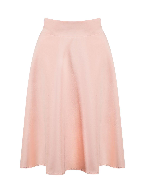 PERSUN Women's Black Basic Flared High Waist Midi Skater Skirt (2X, Pink02)