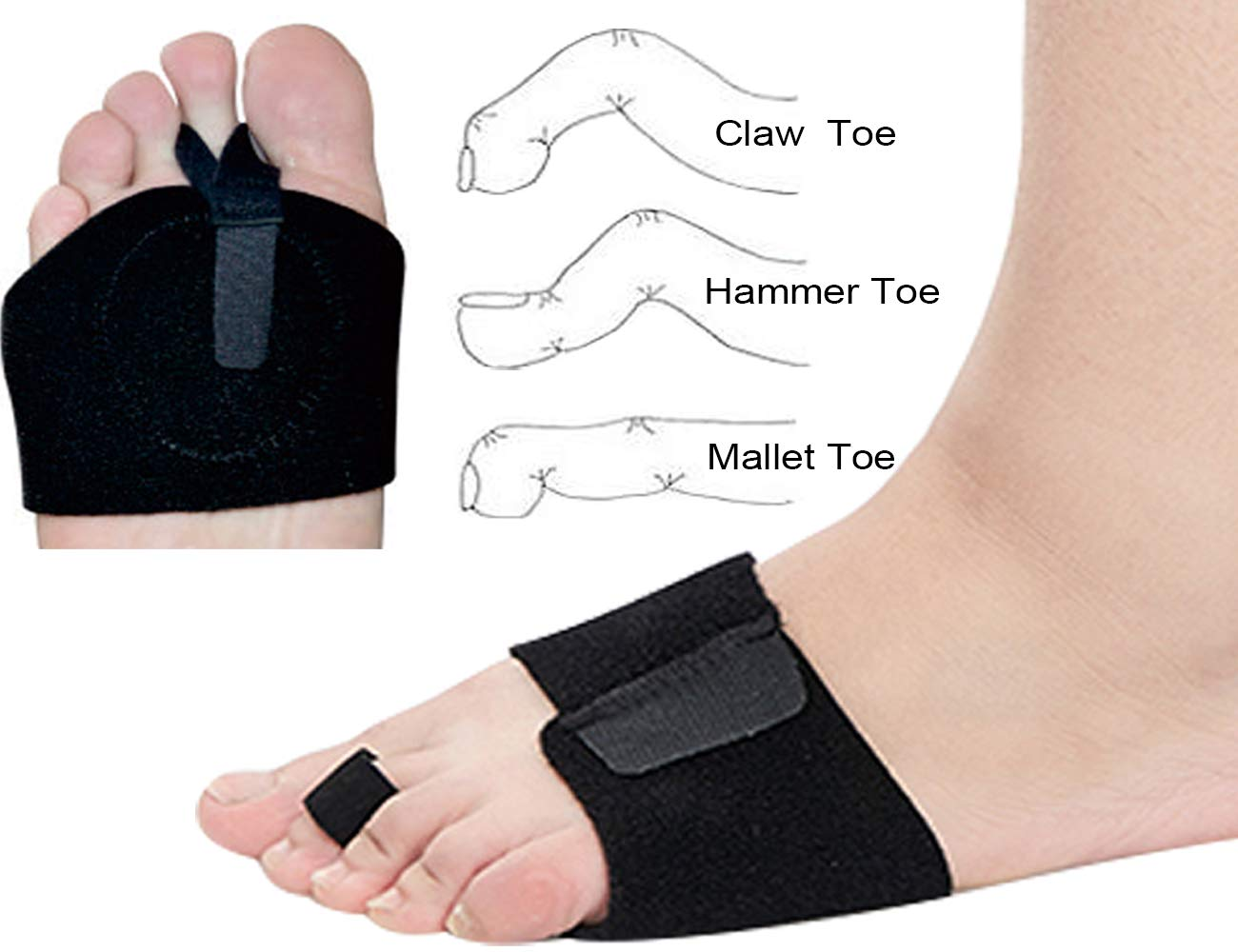 Hammer Toe Straighterner Corrector,Osteotomy Strap with Metatarsal Brace Included Metatarsal Pad for Mallet Toe, Claw Toe Straighten with Two Toe Loops by igoeshopping