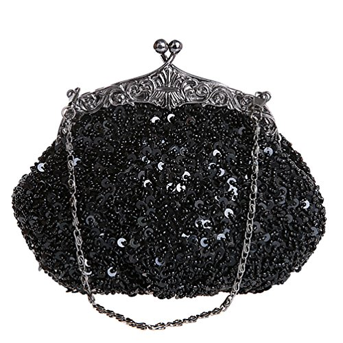 Beaded Wedding Women' Handmade Bridal TOOKY Sequins Bag Party Handbag for Black Shoulder Clutch HtwUYUx