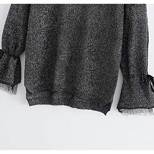 maglia Ju cucito Maglione a sheng a filato con a rotondo motivo donna di lana da in seta Black maglia lavorato rA0rxRw