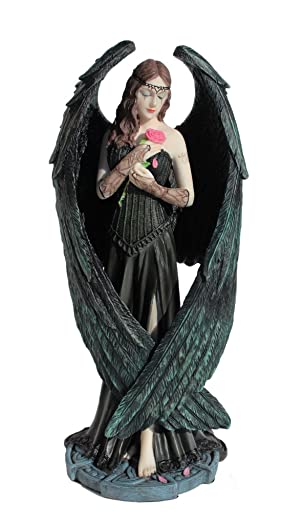 Nemesis Now Ltd Anne Stokes ANGEL ROSE Statue, Fantasy Art Figure 8 1 2-in Pink, Blue, Green, Black, Beige, Brown