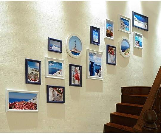 ChenCheng Foto de la Pared Escalera Europea Foto Decoración de la Pared Pasillo Pasillo Marco de Fotos Creativo Pared Colgante Simple Foto Moderna Combinación de Paredes Home Decoration (Color : E): Amazon.es: