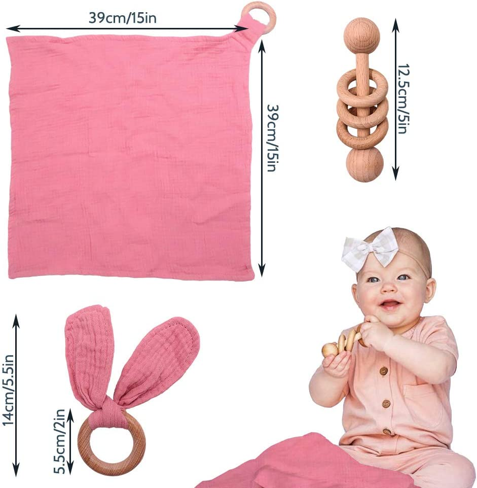 3 Pack Montessori Gift Baby Lovey Baby Girl Shower Gift Wood Rattle Coral Pink 100/% Cotton Double Gauze Teether Ring