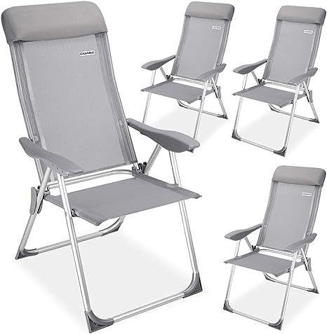 Casaria Set de 4X sillas de jardín de Aluminio Gris 60x109 cm Plegables Resistentes Respaldo Ajustable 5 Niveles: Amazon.es: Deportes y aire libre