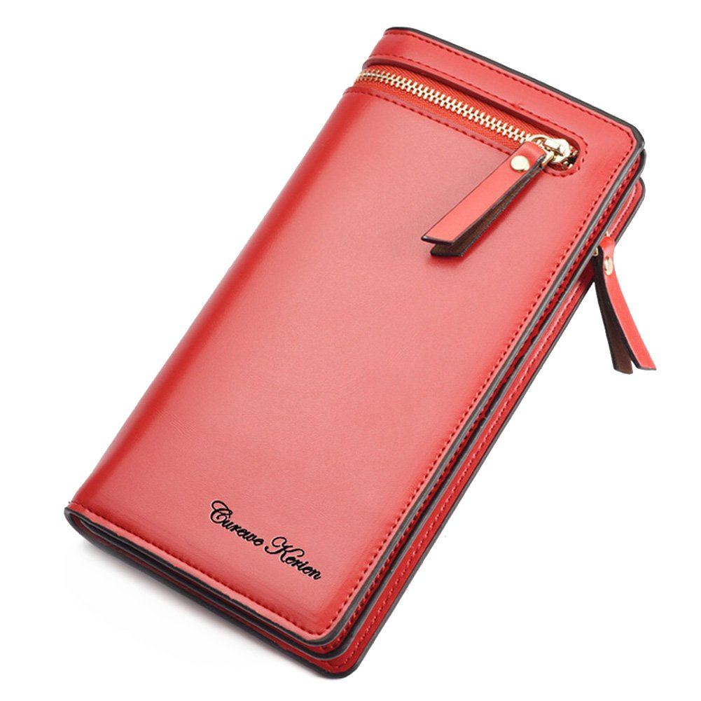 iLapland Women Long Clutch PU Leather Wallet Handbag Ladies Purse Large Capacity Multi Card Organizer Cellphone Holder with Zipper Closure SX-QB2535