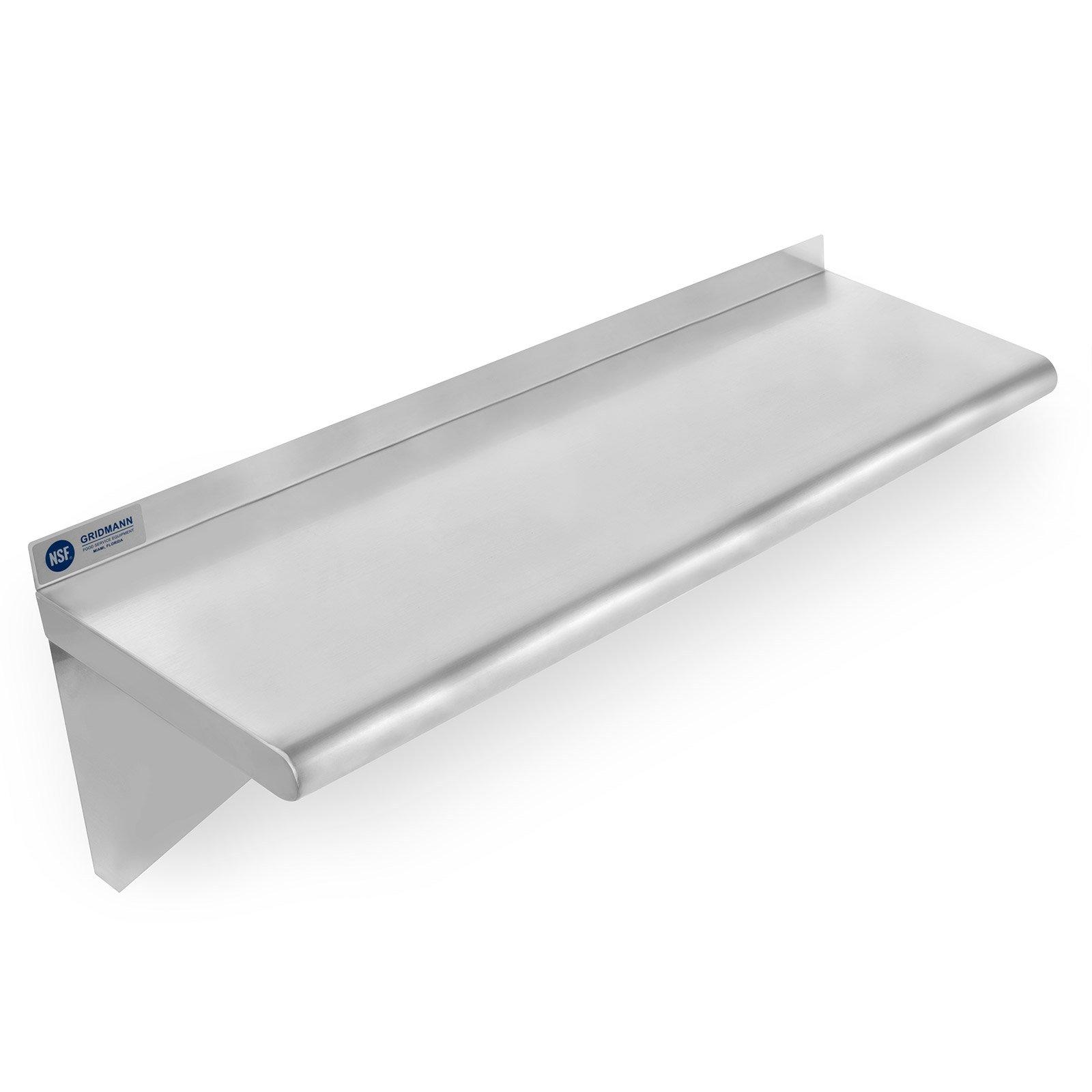 Gridmann NSF Stainless Steel Kitchen Wall Mount Shelf Commercial Restaurant Bar w/ Backsplash - 14'' x 36''