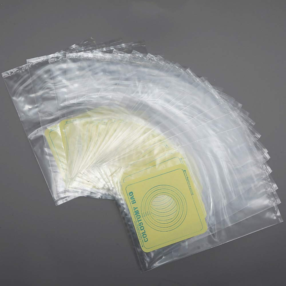 60PCS Colostomy Bags Ostomy Stoma Cut to Fit One-Piece System Disposable Pouches