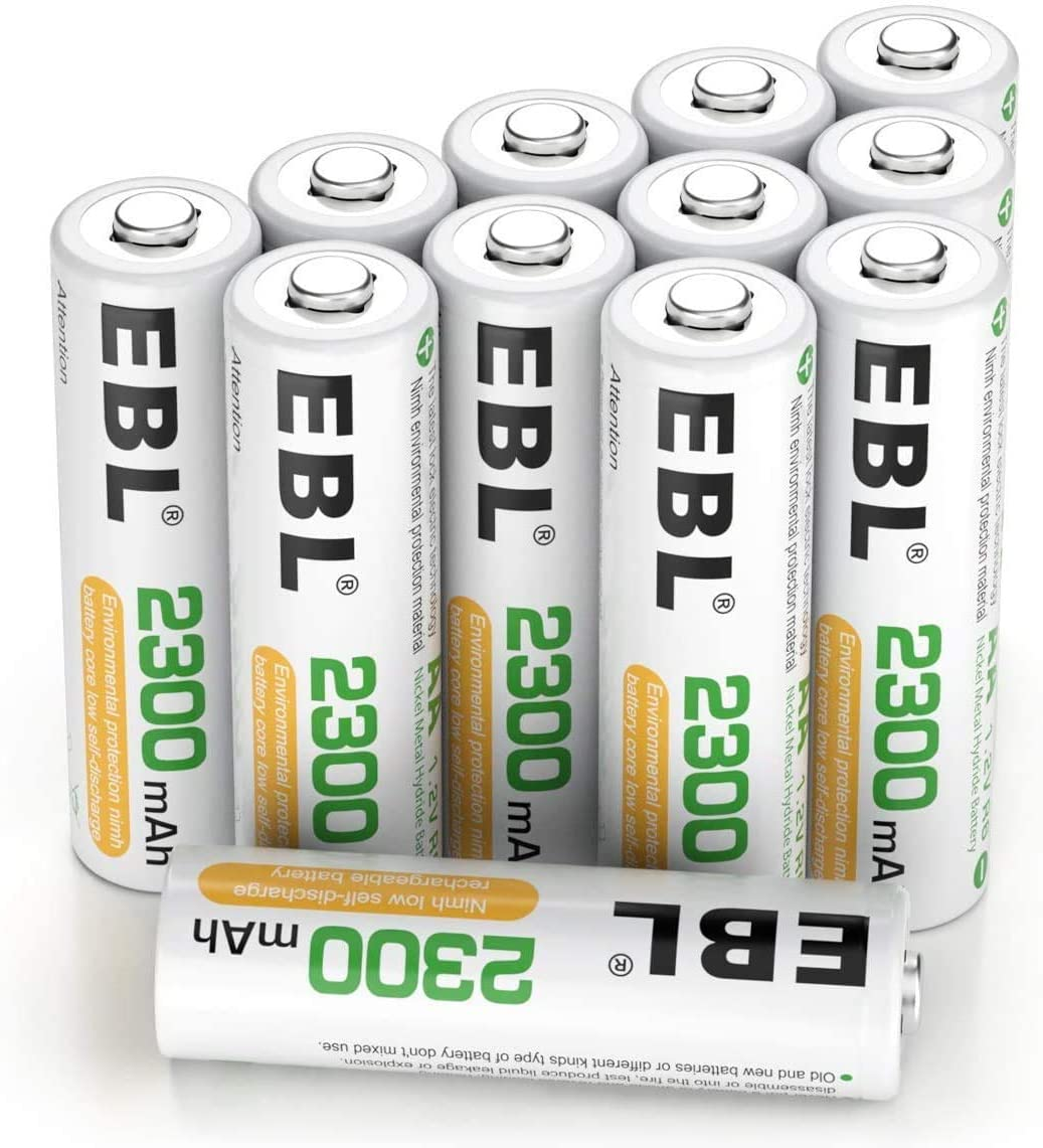 EBL Juego de 12 Pilas Recargables AA NI-MH 2300mAh Baja Autodescarga con ProCyco Baterías Recargables para Juguete, Linternas, Despertadores, Reloj