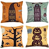 Uarter Square Halloween Throw Pillow Case Set 18 X 18 Decorative Pillow Covers Adorable Linen Cushion Covers with Invisible Zippers, Set of 4