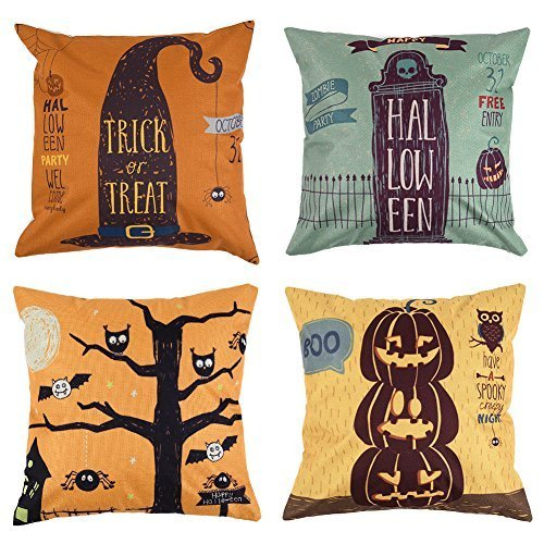 (Uarter Square Halloween Throw Pillow Case Set 18 X 18 Decorative Pillow Covers Adorable Linen Cushion Covers with Invisible Zippers, Set of)