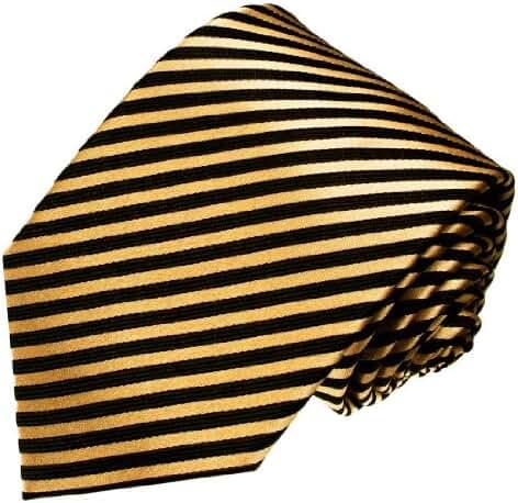 LORENZO CANA Italian 100% Silk Tie Extra Long XXL Gold Black Striped 8436699