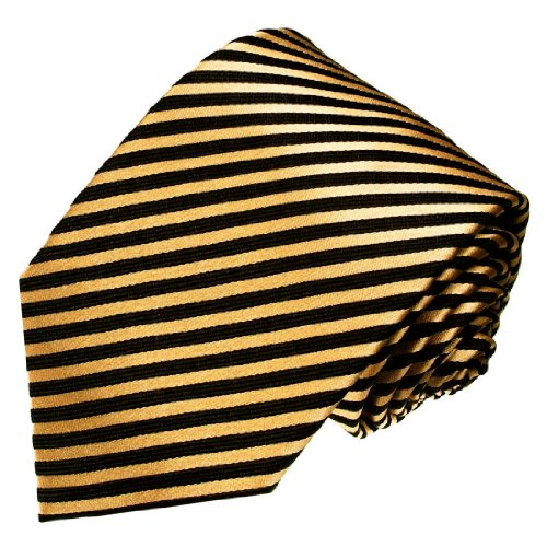 LORENZO CANA Italian 100% Silk Tie Extra Long XXL Gold Black Striped 8436699