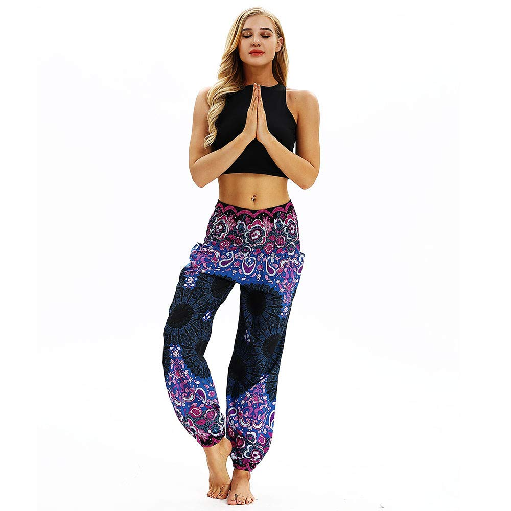 Xmiral Women Pants Polyester Casual Loose Hippy Yoga Trousers Baggy Men Boho Print Harem Pants Trousers Black1)