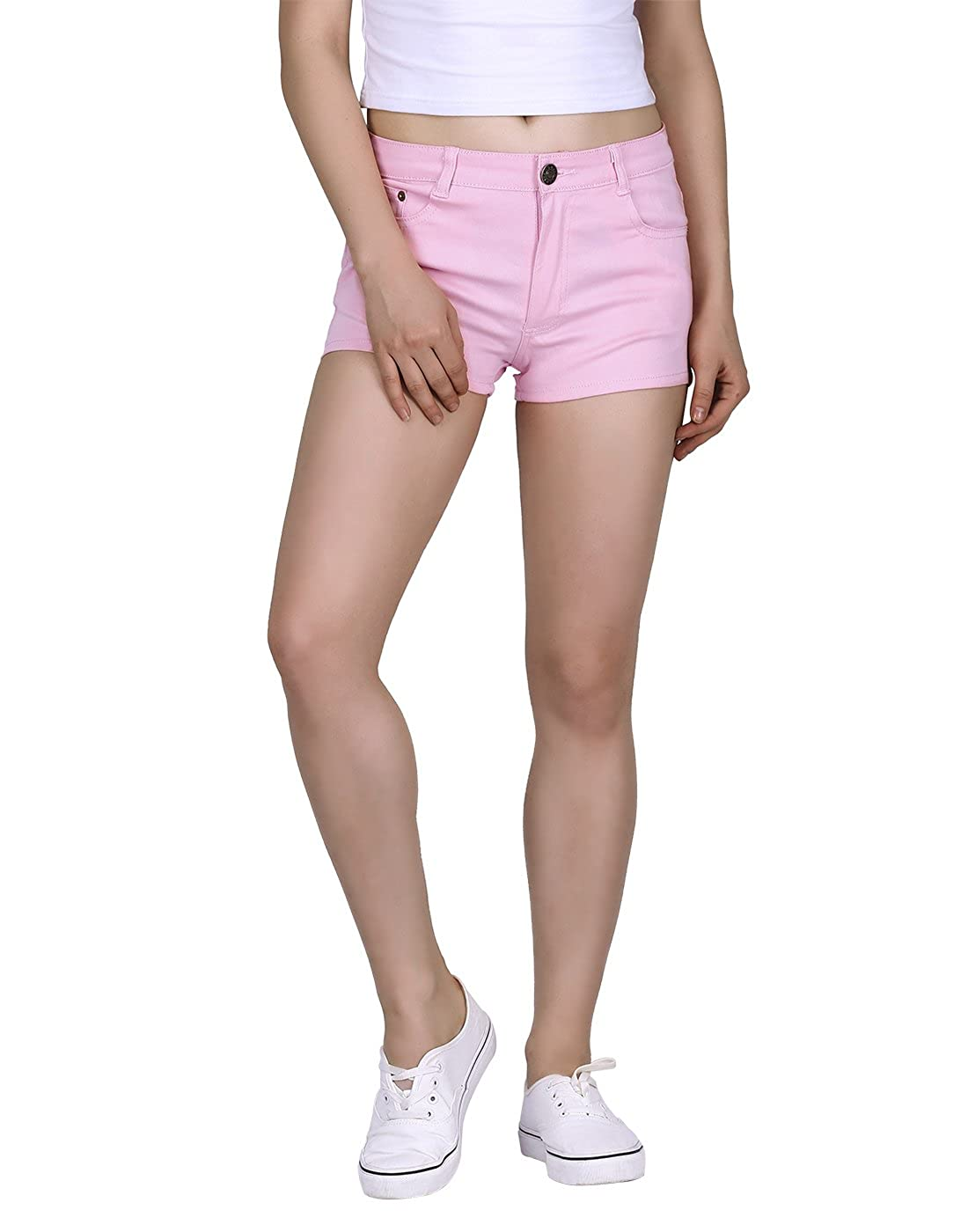 HDE Womens Solid Color Ultra Stretch Fitted Low Rise Moleton Denim Booty Shorts