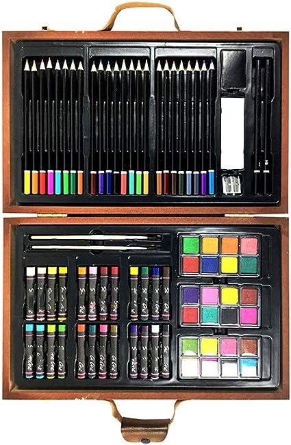 79Pcs Caja De Madera Juego De Dibujo De Pintura Kit De Aprendizaje De Pintura PapeleríA Para NiñOs Giftartists Colorear Y Pintar Estuche: Amazon.es: Oficina y papelería