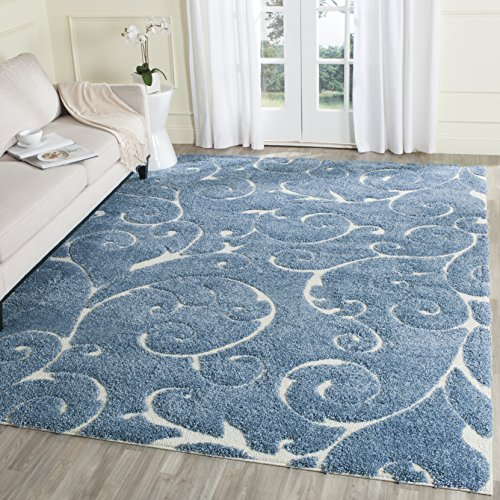 (Safavieh Florida Shag Collection SG455-6011 Scrolling Vine Light Blue and Cream Graceful Swirl Area Rug (8' x 10'))
