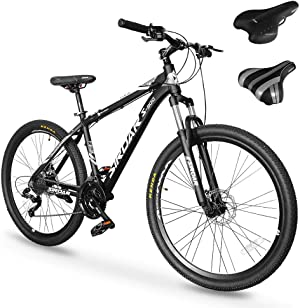SIRDAR S-900 27 Speed 27.5 inch Mountain Bike Aluminum Alloy and High Carbon Steel with 2 Replaceable Seat, Full Suspension Disc Brake Outdoor Bikes for Men Women