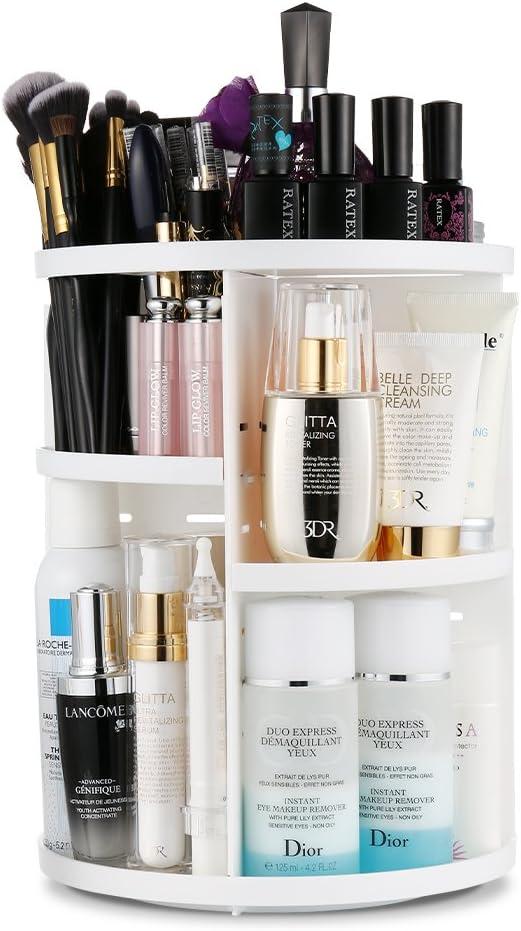 LAVANY Organisateur de cosmétiques Jerrybox tournant à 360° avec étagères Ajustables, Boite de Rangement pour Maquillage, Large capacité, pour des crèmes, brosses, Rouges à lèvres (Round White)