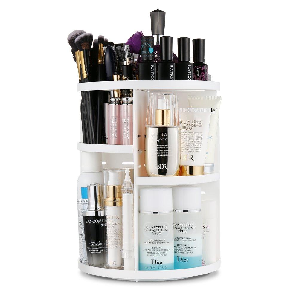 Jerrybox 360 Degree Rotation Makeup Organizer Adjustable Multi-Function Cosmetic Storage Box, Large Capacity, Fits Toner, Creams, Makeup Brushes, Lipsticks and More (White, Circle)
