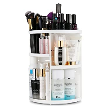 Jerrybox 360 Degree Rotation Makeup Organizer Adjustable Multi-Function Cosmetic Storage Box, Large Capacity, Fits Toner, Creams, Makeup Brushes, Lipsticks and More (White, Circle)