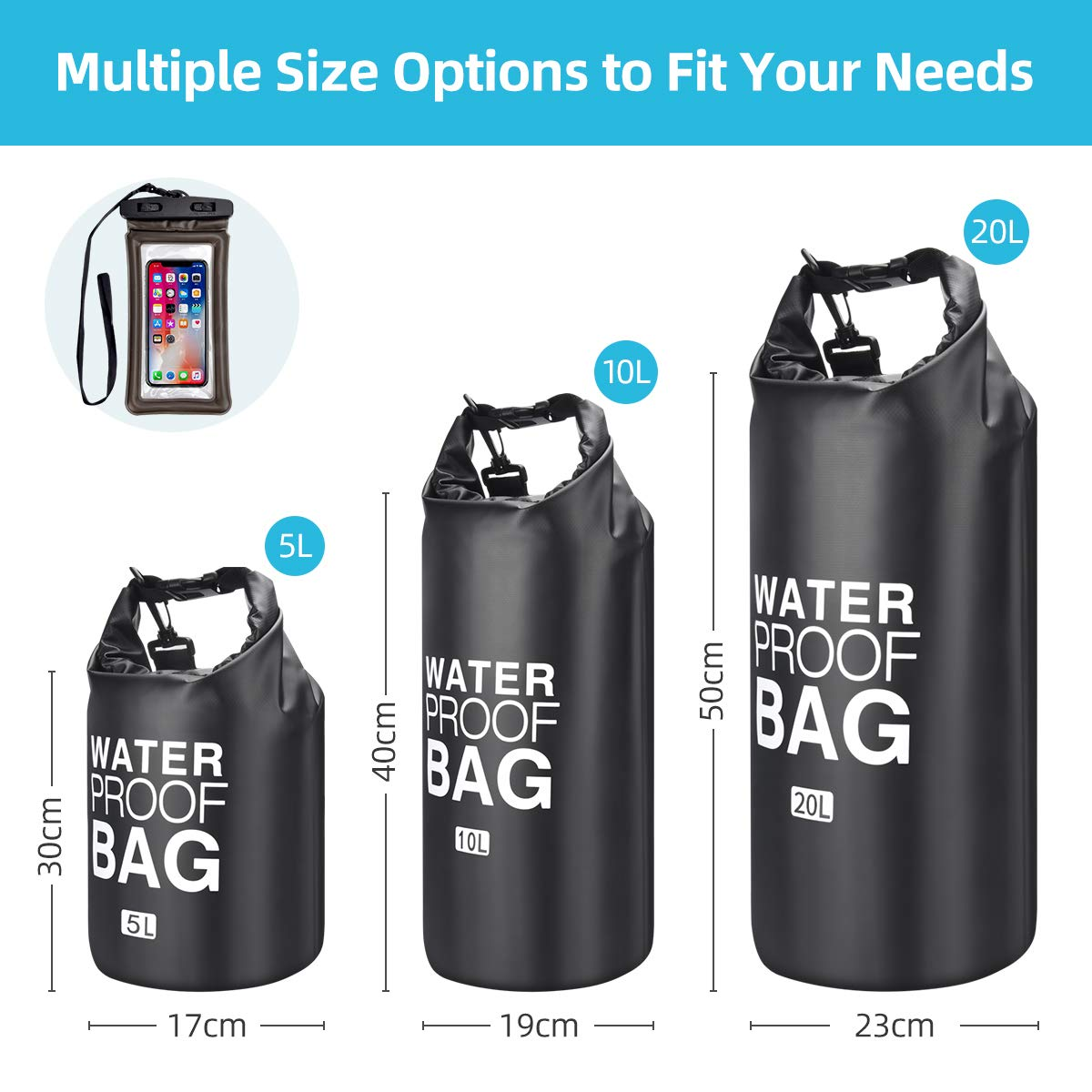 Trentixel Waterproof Dry Bags, Floating Dry Sack with Detachable Shoulder Strap, 5L/10L/20L Large Dry Bag for Fishing, Kayaking, Surfing, Rafting, Hiking and Camping with Waterproof Phone Case