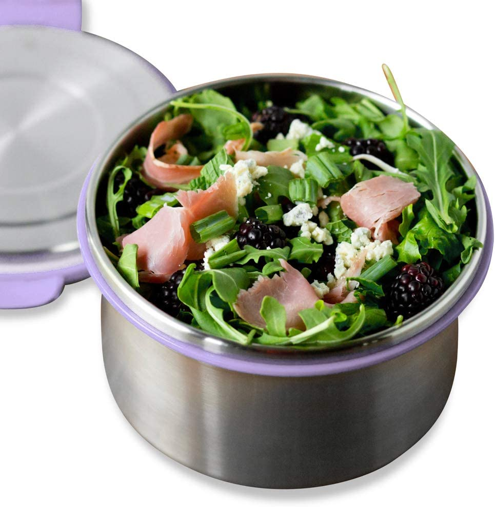 LunchBots Salad Bowl Lunch Container - 6-Cup - Leak Proof Lid - Stainless Steel Inside - Not Insulated - BPA Free, Dishwasher Safe - Lavender - 6 cup