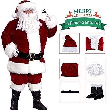 Amazon.com: Disfraz de fiesta de Santa Claus, de terciopelo ...