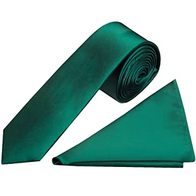 f40accadca1e6 TIES R US Plain Bottle Green Satin Skinny Boys Tie and Pocket Square Set:  Amazon.co.uk: Clothing
