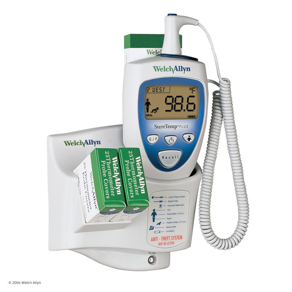 Welch Allyn 01692-201 SureTemp Plus 692 Electronic Thermometer with Wall Mount, Security System with ID Location Field, 4' Cord and Rectal Probe with Probe Well by Welch Allyn