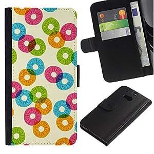 WINCASE ( No Para HTC ONE Mini 2) Cuadro Funda Voltear Cuero Ranura Tarjetas TPU Carcasas Protectora Cover Case Para HTC One M8 - patrón de la piña naranja del extracto del trullo