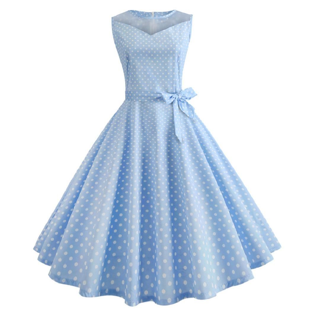ShenPr Women's Sleeveless Polka Dots Print Mesh Stitching Slim Waist Bowknot Bandage Party Swing Dress (XXL, Light Blue)