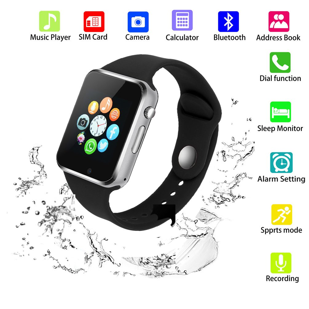 SUNETLINK Smart Watch Phone, Touch Screen Bluetooth Unlocked Watch Cell Phone with Camera,SIM Card Slot/Pedometer Analysis/Sleep Monitoring Men Women Kids Boys (G10D black)