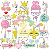 Unicorn Party Supplies(35Count),Konsait Glitter Unicorn Photo Booth Props Funny Rainbow Unicorn Pegasus Photo Props for Unicorn Baby Shower Birthday Party Decoration Favors Supplies for Girl Kids