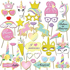 Konsait Unicorn Party Supplies, Glitter Unicorn Photo Booth Props Funny Rainbow Unicorn Pegasus Photo Props for Unicorn Baby Shower Birthday Party Decoration Favors Supplies for Girl Kids
