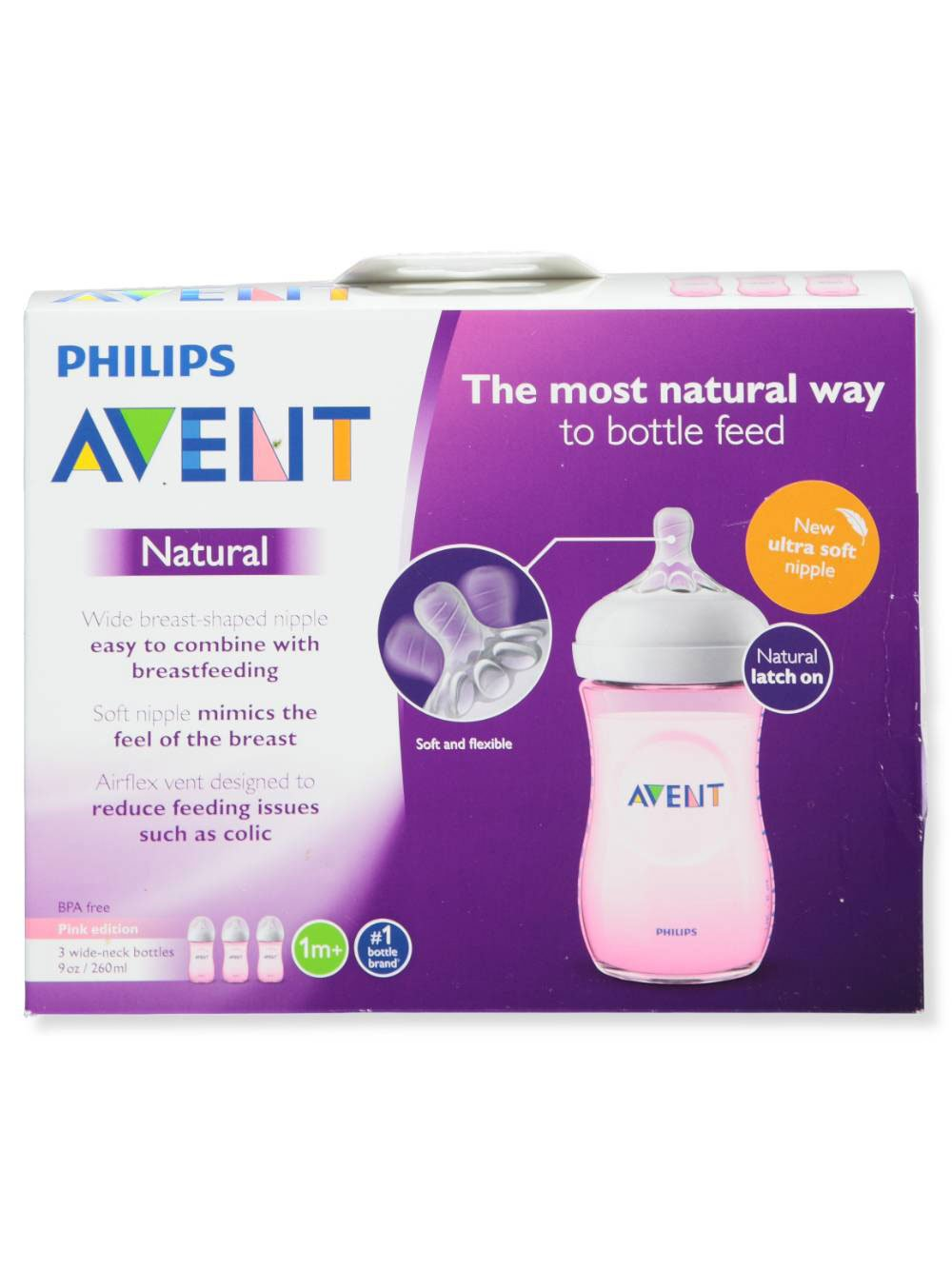 - BLUE Pack of 3 9 Oz Philips Avent Anti Colic Bottle 3 Wide Neck Bottles