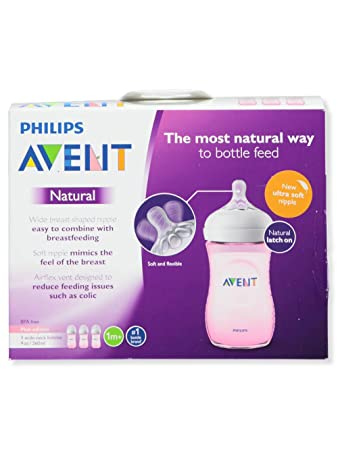 Philips Avent Anti Colic Bottle Pack of 4 9 Oz 3 Wide Neck Bottles - PINK