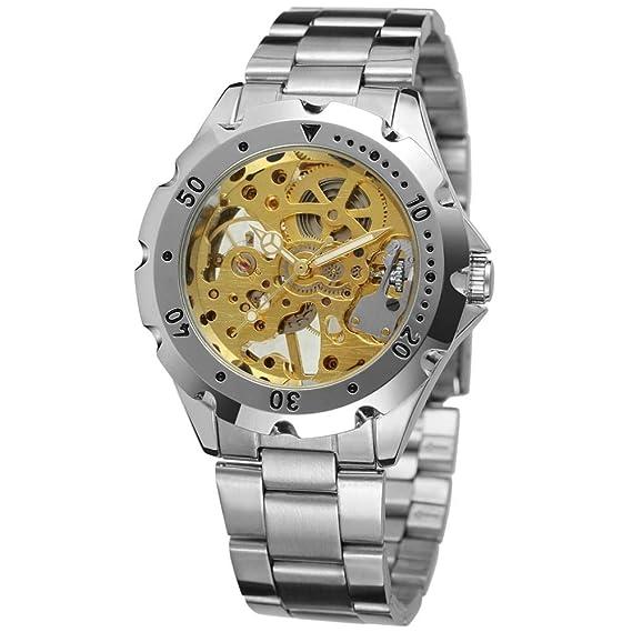 HWCOO Relojes Reloj mecánico de Correa de Acero T-Winner Full Hueco para Hombres (Color : 1): Amazon.es: Relojes