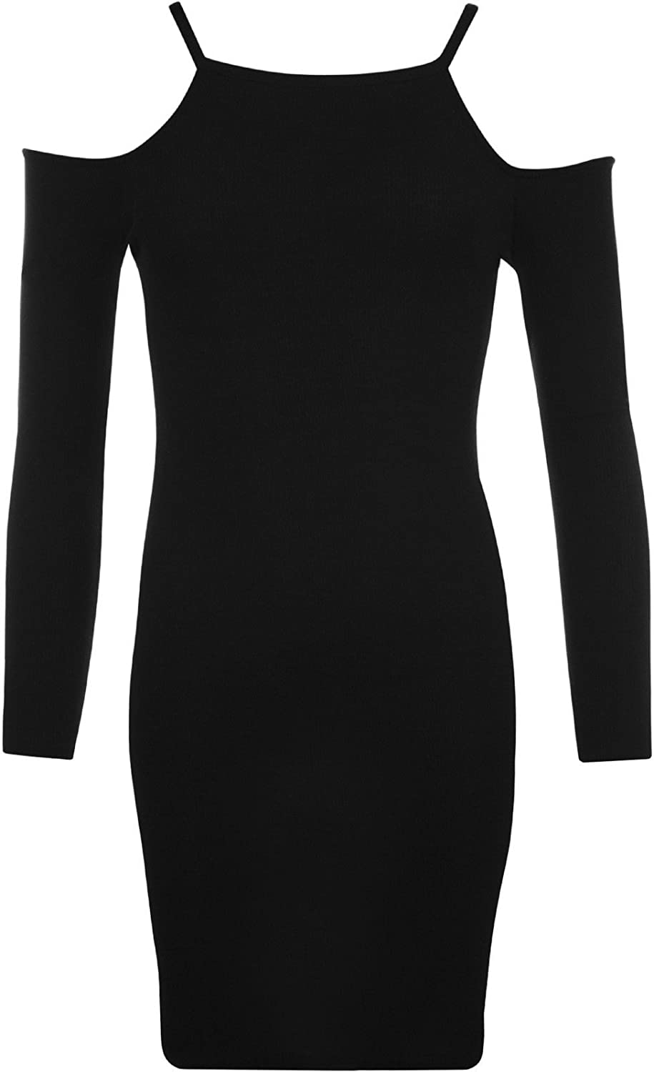 Commencer Womens Ribbed Long Sleeve Stretch Cut Out Off Shoulder Bodycon Dress