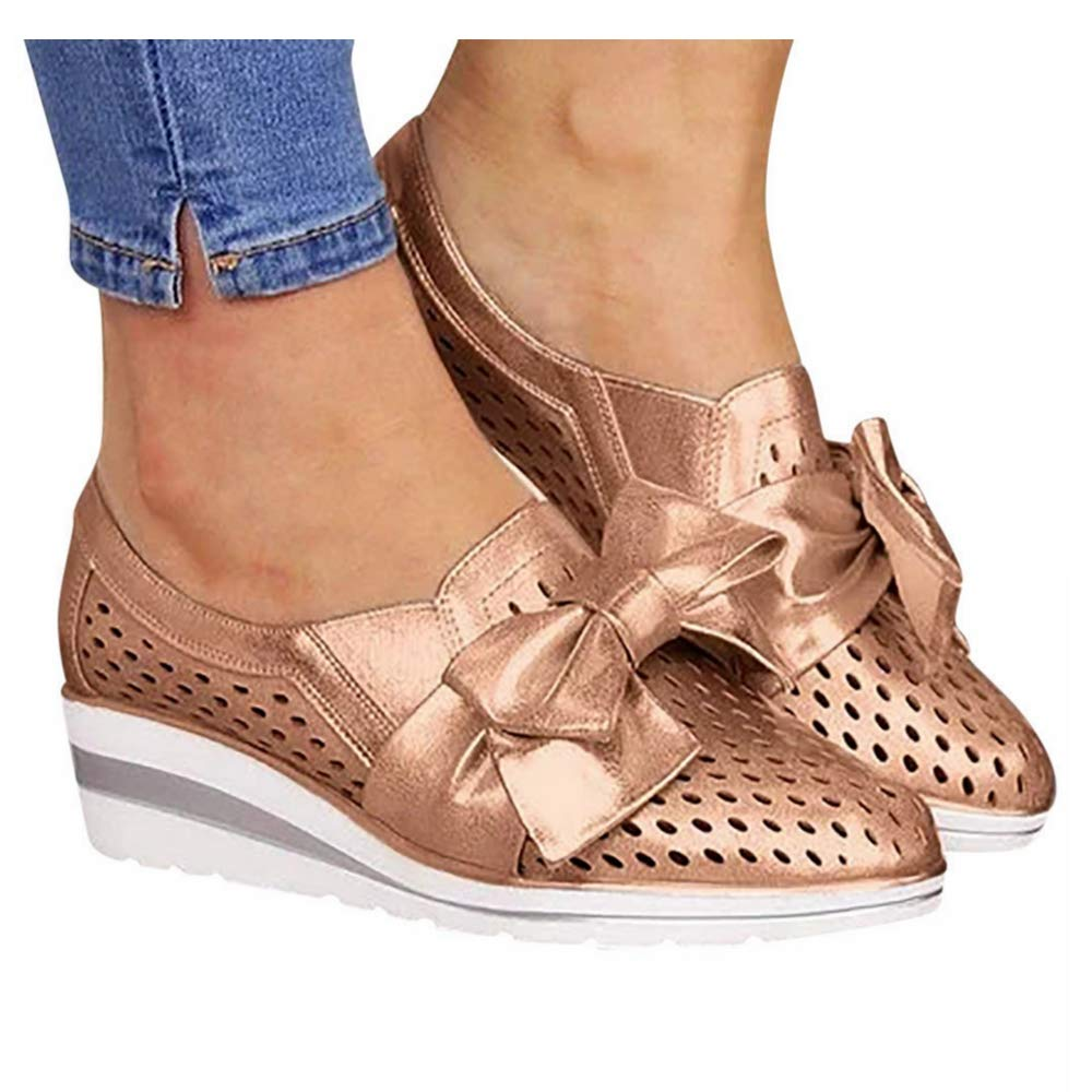 Women's Wedges Platform Sandals Slip On Lazy Bowknot Hollow Out Walking Shoes Casual Loafers (US:9.0, Gold) by sweetnice Women Shoes