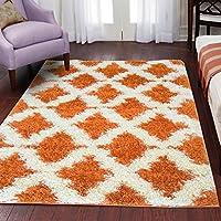 Lexington Home 5 x 7 Shaggy Area Rug Orange Diamond Trellis Lattice Design Soft and Cozy Shag Rug