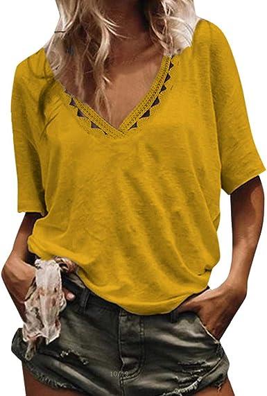 VEMOW Camisas de Mujer Tops Blusas Casual para Mujer Huecos ...